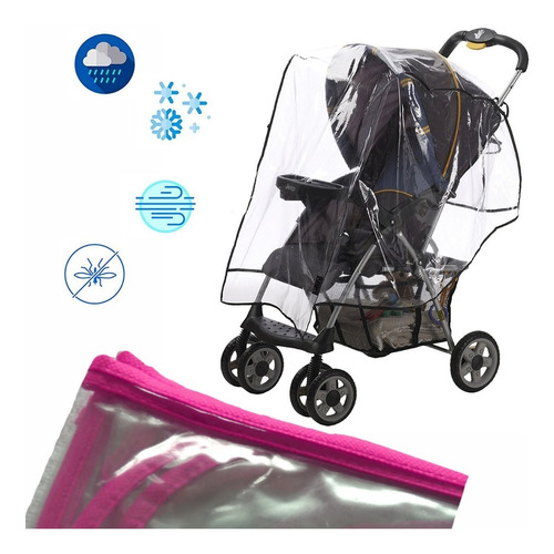 forro plastico protector de lluvia coche para bebe rosado