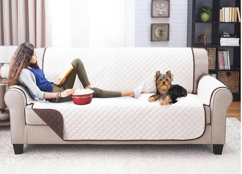 forro protector sofa doble faz café beige 3 puestos