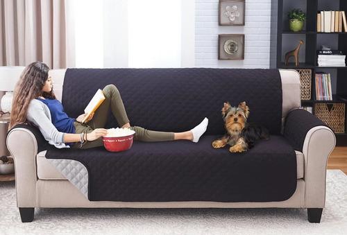 forro protector sofa doble faz negro gris 3 puestos