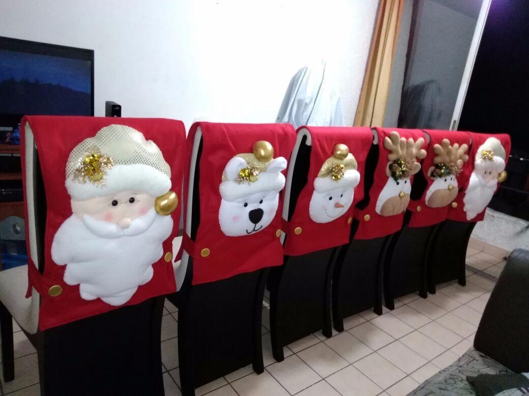 Forros navide os o cubre sillas en mercado libre - Adornos navidenos para sillas ...