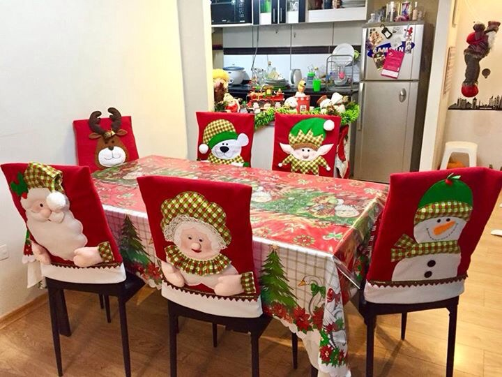 Forros navide os para comedor a medida s 30 00 en for Disenos navidenos para decorar puertas