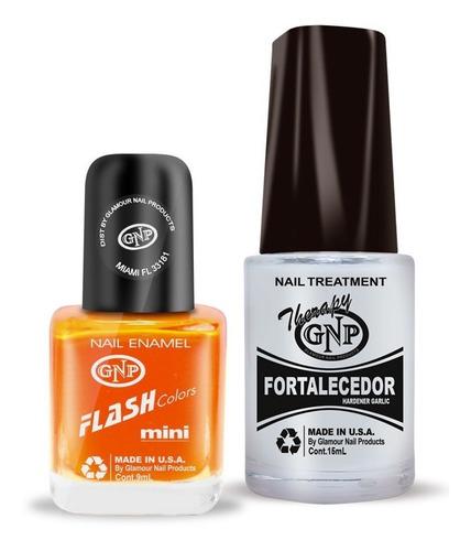 fortalecedor de ajo y esmalte gnp 9ml naranja fluo