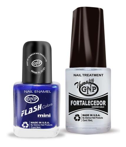 fortalecedor de ajo y esmalte gnp 9ml nro.45 azul intenso