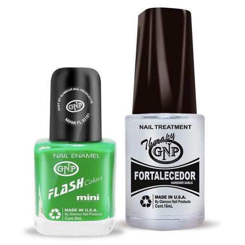 fortalecedor de ajo y esmalte gnp 9ml verde fluo