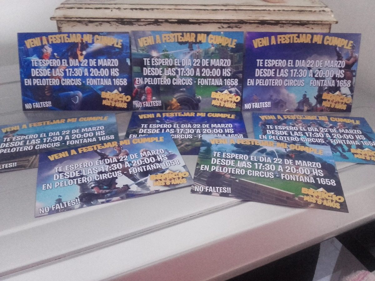 fortnite battle royale tarjetas cumpleaño fiestas invitación 240