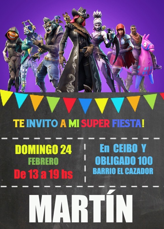 Fortnite Invitación Tarjeta Digital Imprimible Whatsapp