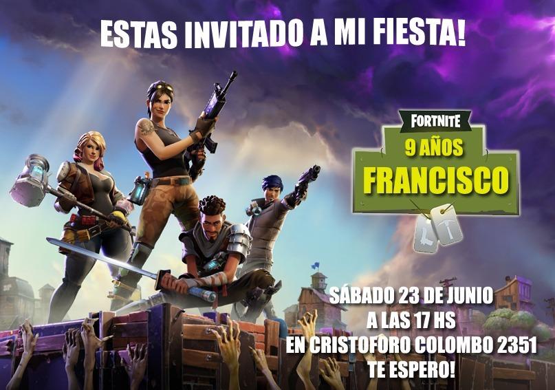 Fortnite Promo 40 Invitaciones Tarjetas