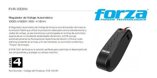 forza regulador de voltaje (fvr-1001m) 1kva 500w 4-out 110v