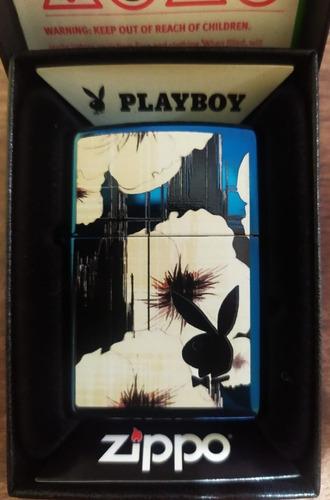 fosforera zippo edicion playboy azul brillante original