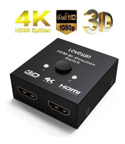 fosmon 2 x 1 1 x 2 ultra 4k bi dirección hdmi 2.0 interrupto