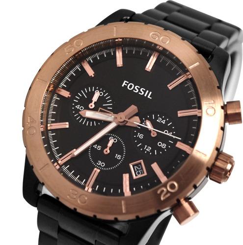 fossil ch2817 keaton black dial reloj metal bracalete