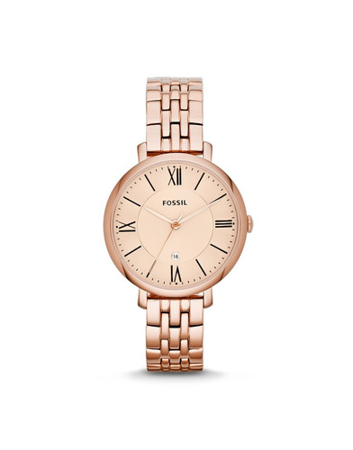 fossil jacqueline rose-tone stainless steel watch es3435