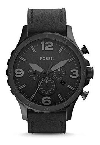 fossil men's nate quartz stainless steel and leather casual