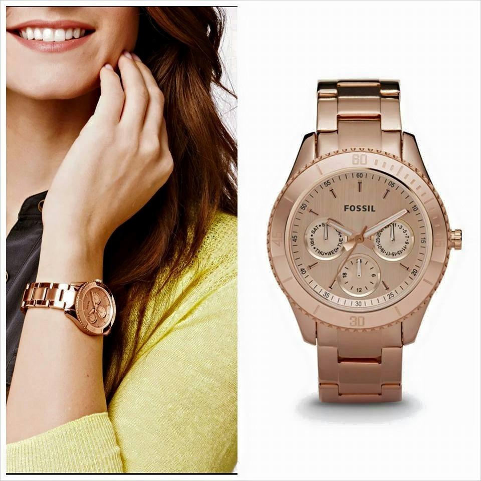 21192c325905 fossil reloj mujer color oro rosado acero inoxidable. Cargando zoom.