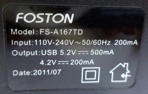 foston lote 5 pçs carregador foston  fs-a167 td  original