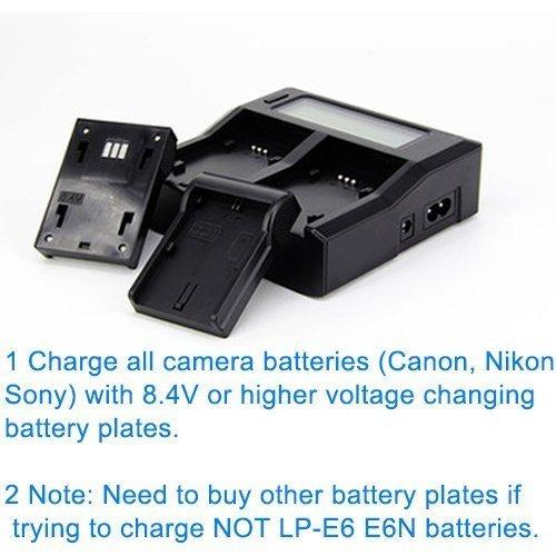 fotga lcd dual battery charger para canon lp-e6 7d 6d 5d ii