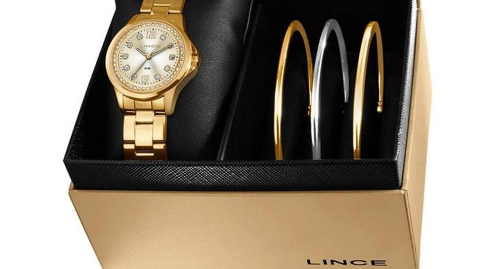 f2c62ccf917 Foto 1 - Kit Relógio Lince Orient Feminino Dourado Lrg4393l - R  196 ...