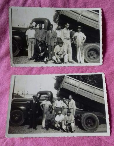 foto antiga de caminhã e grupo de pessoas -2 fotos
