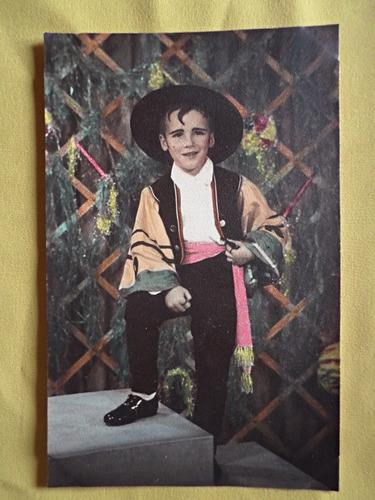 foto coloreada t. postal niño disfraz tipico español c. 1920