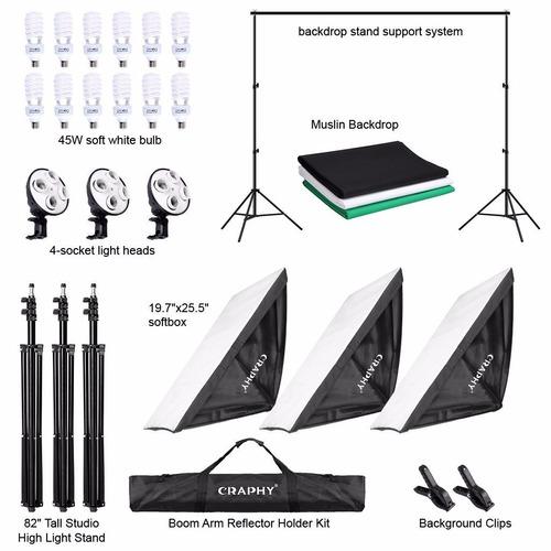 foto estudio video kit iluminación continua 3 softbox 5500k