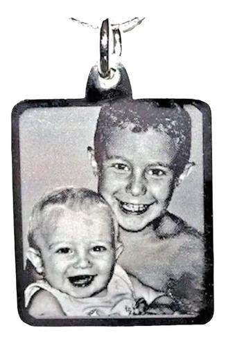 foto medalla acero quirúr personalizada 16x19mm + cadena