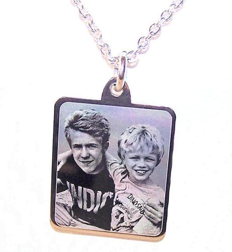 foto medalla acero quirurgico personalizada 20x22mm + cadena