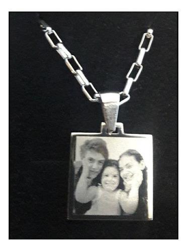 foto medalla  redonda + cadena + dedicatoria  acero