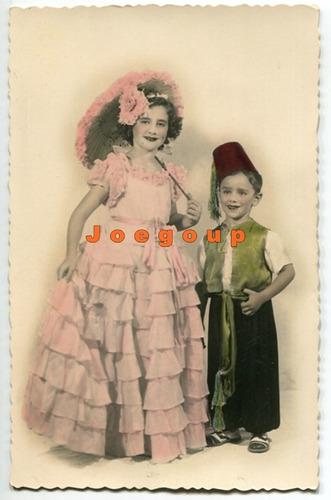 foto postal coloreada retrato niños vestimenta tipica