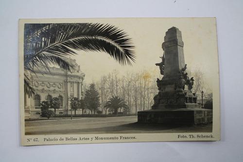 foto postal santiago chile bellas artes y monumento frances
