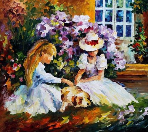 foto poster leonid afremov 50cmx55cm decoração obra 3 amigas