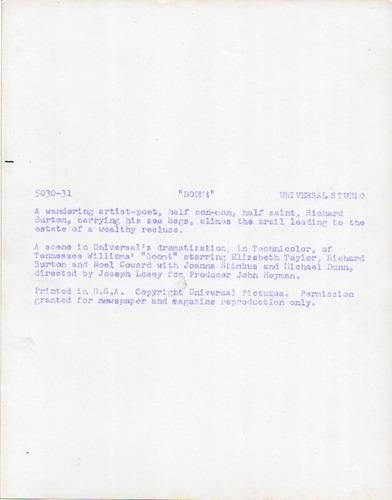foto richard burton boom joseph losey 1968 universal studio