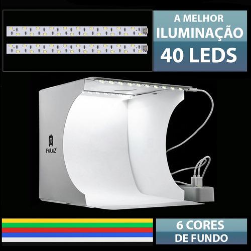 foto studio box puluz dual led + 6 cores de fundo grátis