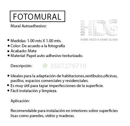 fotomural autoadhesivo ref: arte fma03 1.00m x 1.00m.