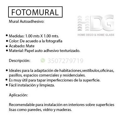 fotomural autoadhesivo ref: arte fma12 1.00m x 1.00m.
