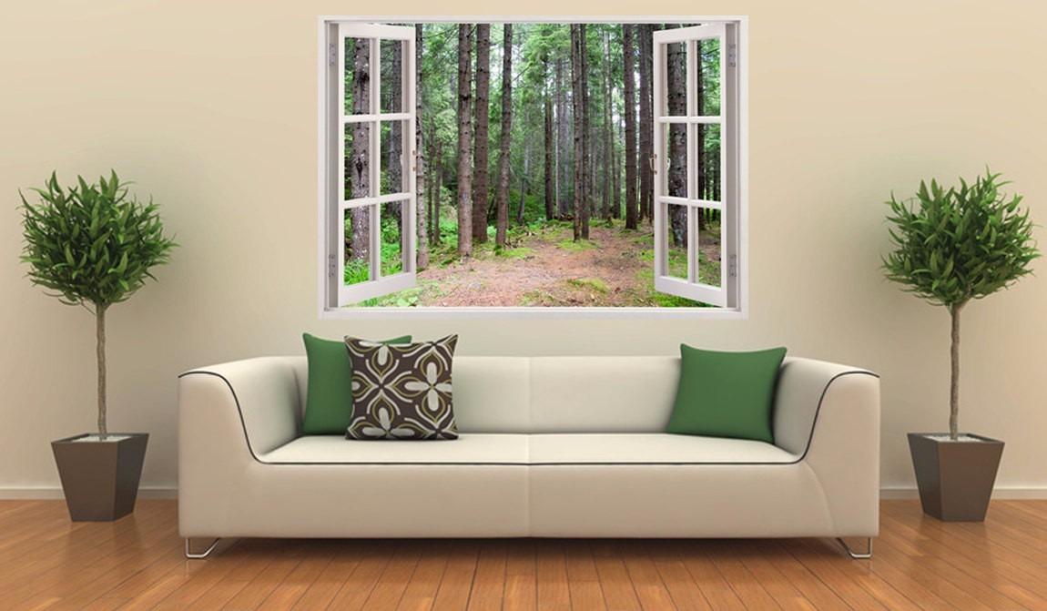 Fotomurales adhesivos decorativos estilo ventana 3d hogar for Fotomurales decorativos