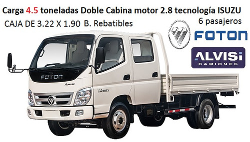 foton doble cabina carga 4.5 ton t. isuzu + iva