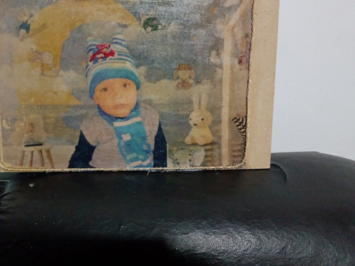 fotos transferidas em madeira rústica