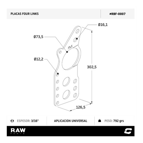four link placa p/ soldar diferencial manga 73.5mm raw parts