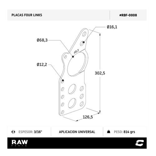 four link placa picadas diferencial manga 68.5mm raw parts