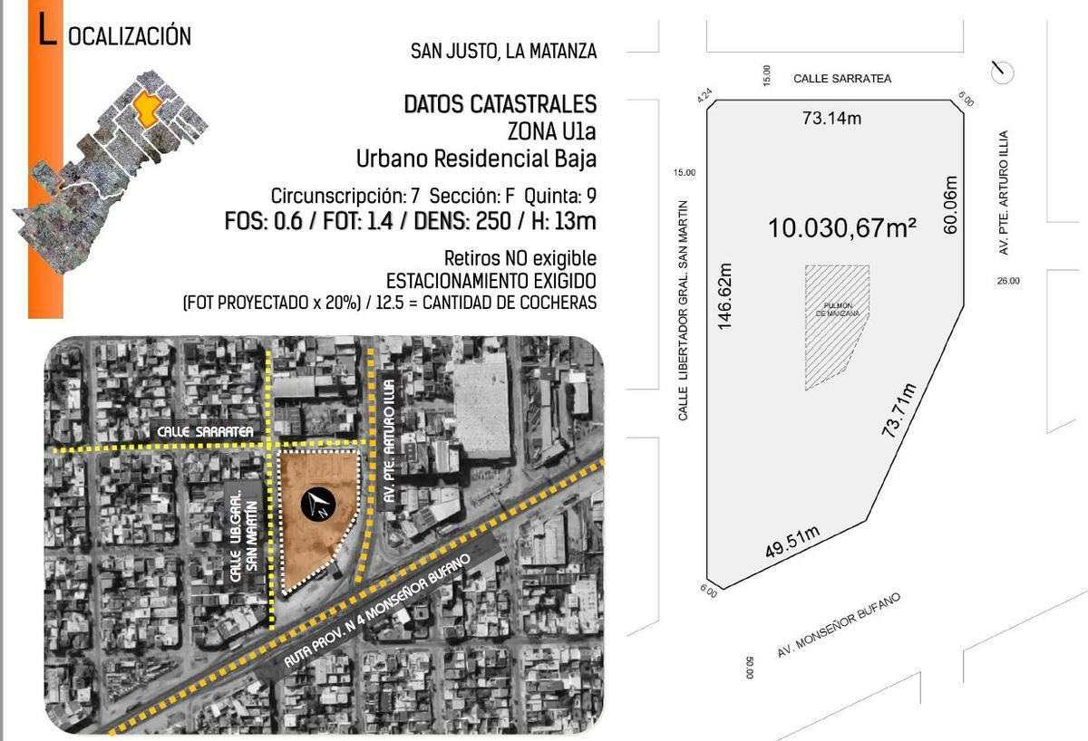fracción comercial 964 m² - ideal local   san justo