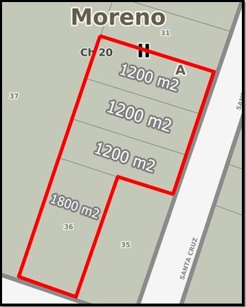 fracción de 5400 m2 a 200 metros de club mariano moreno