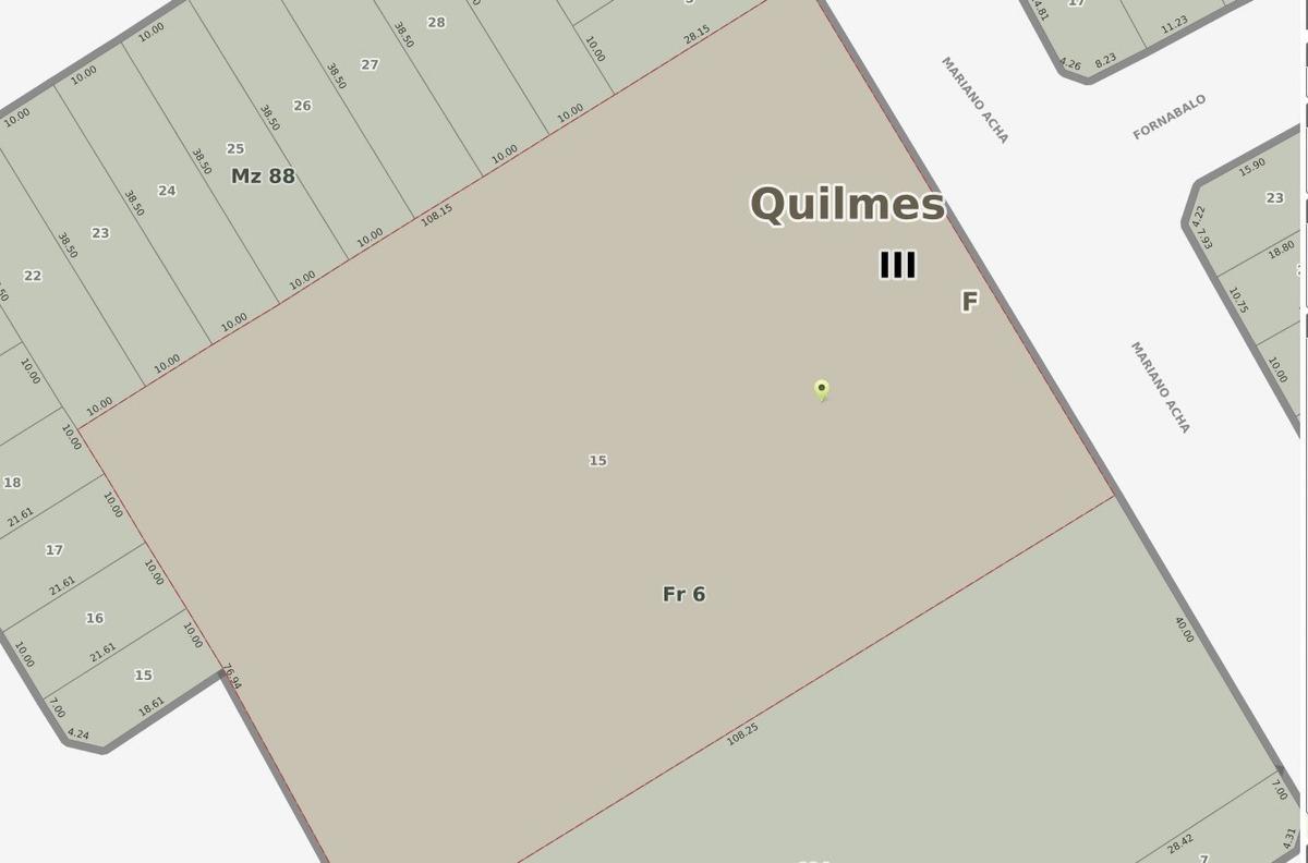 fracción de 8.500 m2, con salida a 2 calles