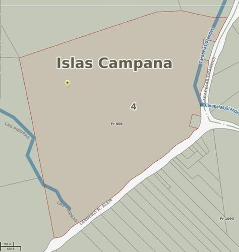 fracción en venta en islas campana. 96 has. canal alem y río carabelas.