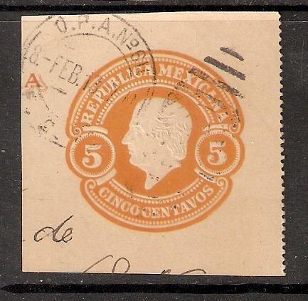 fragmento de entero postal hidalgo siglo x i x  5 cts