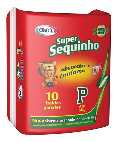 fralda infantil clin off c/10 super sequinho pq