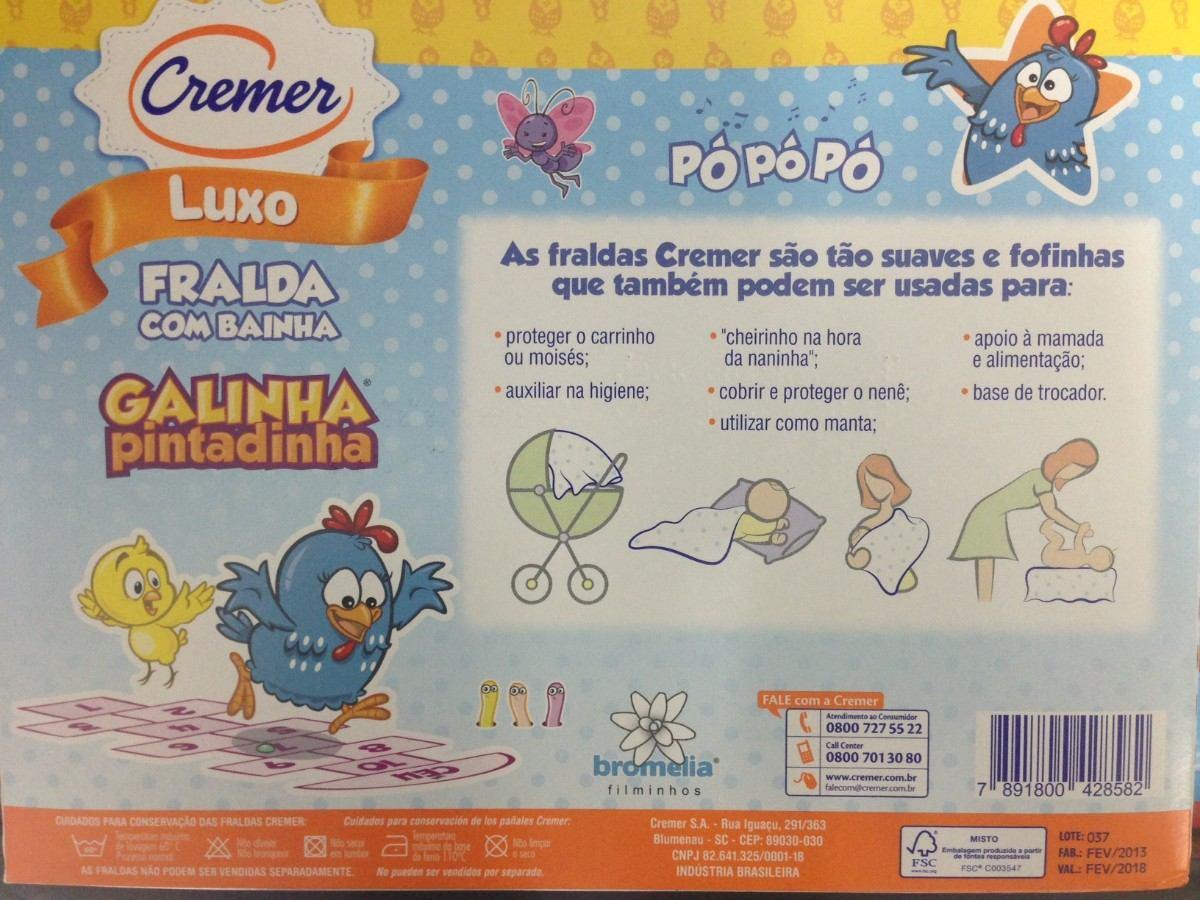 cc0d815ee2f9cb Fralda Luxo Galinha Pintadinha C/bainha - Cremer