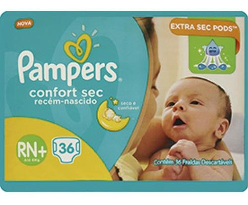 fraldas pampers confort sec rn+  36 unidades