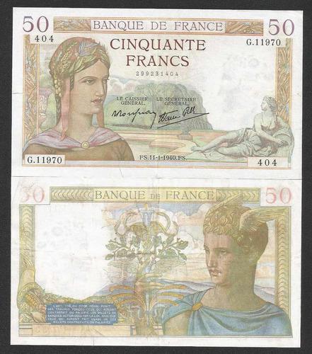 frança 50 francos 1939 p. 85b sob cédula - tchequito