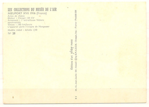 frança aeronave nieuport xvii 1916 não circulado