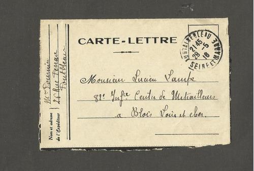 frança carta 1916, seine et marne - carimbada